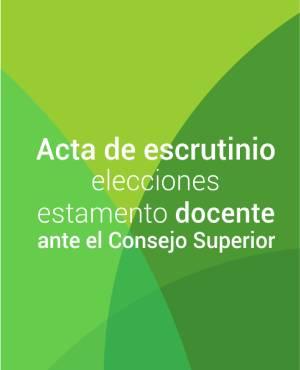 Acta de escrutinio elecciones estamento docente ante el Consejo Superior