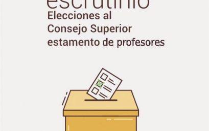 Acta de escrutinio elecciones al Consejo Superior estamento de profesores