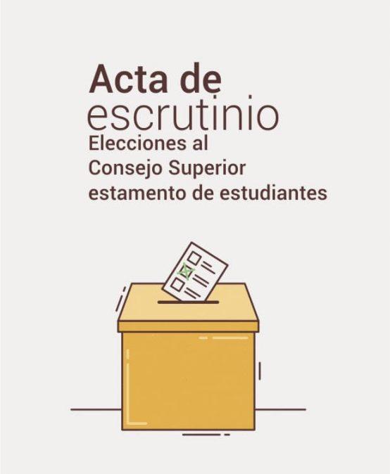 Acta de escrutinio elecciones al consejo superior estamento de estudiantes
