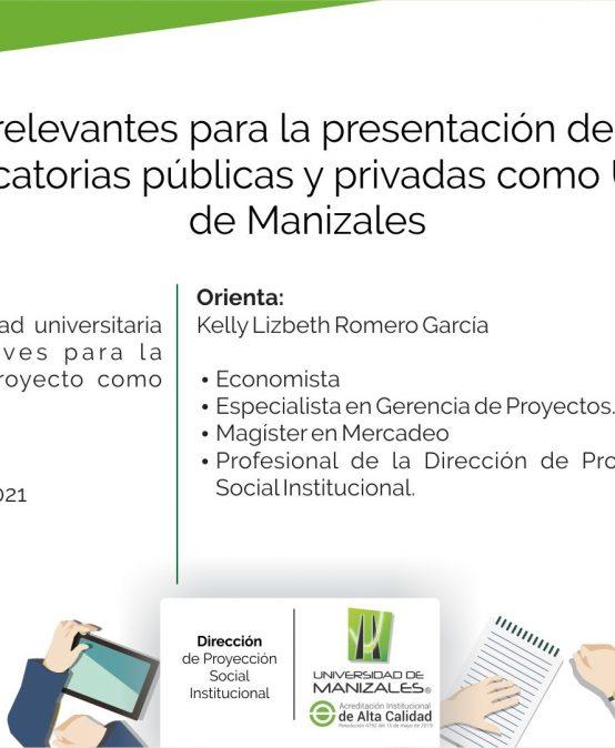 """Este jueves Proyección Social de Umanizales ofrecerá capacitación sobre """"Presentación de proyectos en convocatorias públicas y privadas"""""""